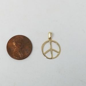 14k solid yellow gold peace sign pendant